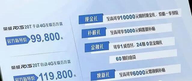 荣威RX5 4G互联百万款领潮上市,实际支付价9.18万元起